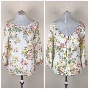 Lovely Day Floral Bow on Back Blouse
